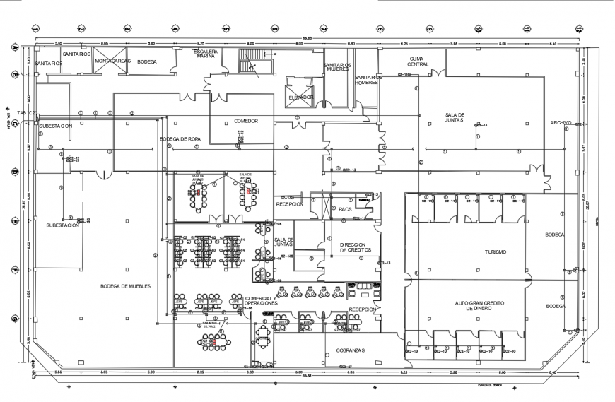 Corporate office architecture layout plan with electrical panel cad drawing details dwg file