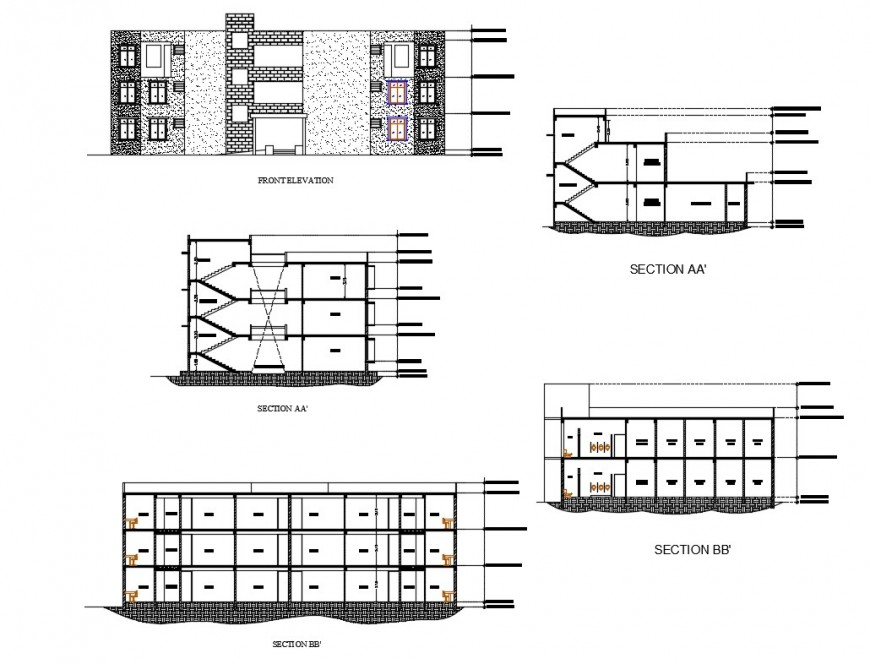 Corporate office building all sided elevation, section cad drawing details dwg file