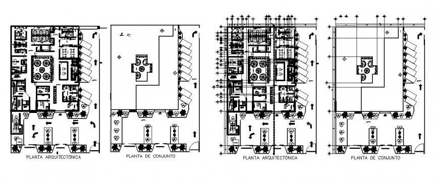 Corporate office building architecture layout plan and assembly plan details dwg file