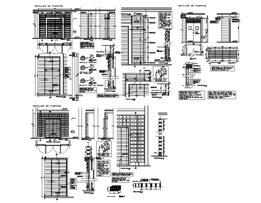 Corporate office building doors installation and constructive structure details dwg file