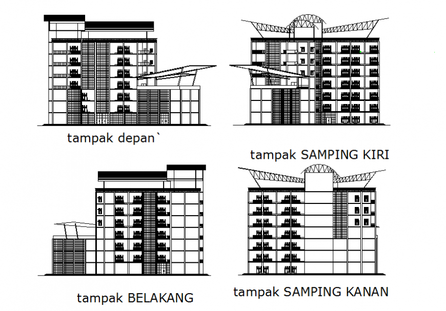 Corporate office building facade and back elevation and sectional details dwg file