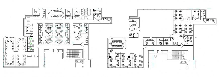 Corporate office building first and second floor plan cad drawing details dwg file