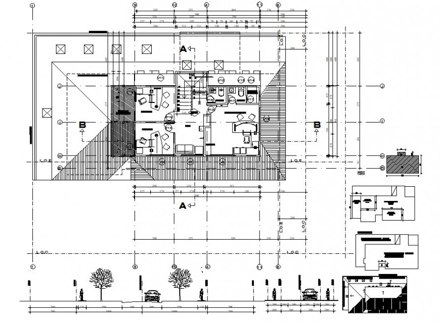 corporate office building floor layout detail cad file