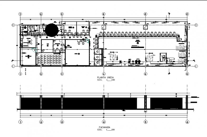 Corporate office building for cell phones elevation and plan cad drawing details dwg file