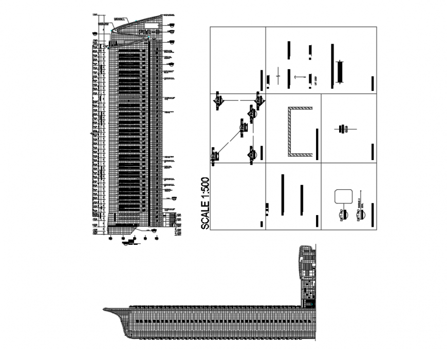Corporate office building high rise tower elevation cad drawing details dwg file