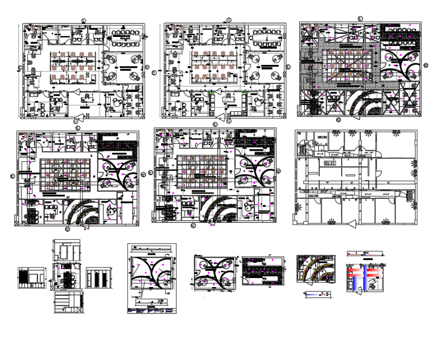 Corporate office building plan, sanitary installation, electric installation and auto-cad details dwg file