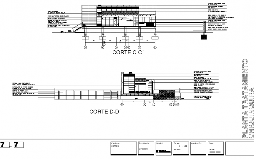 Corporate office building section drawing in dwg file.