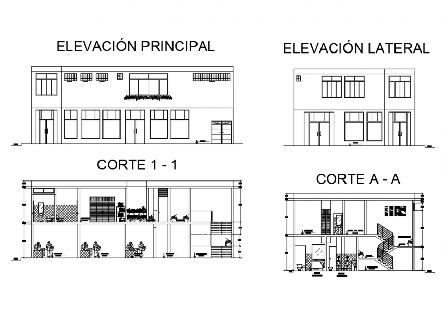 Corporate office building two story elevation and sectional details dwg file