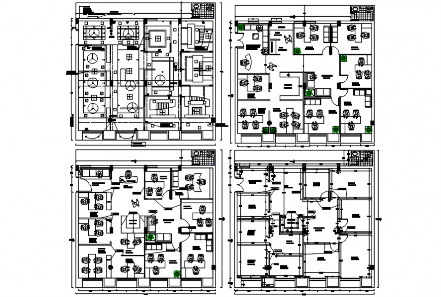 Corporate office four floor distribution plan cad drawing details dwg file