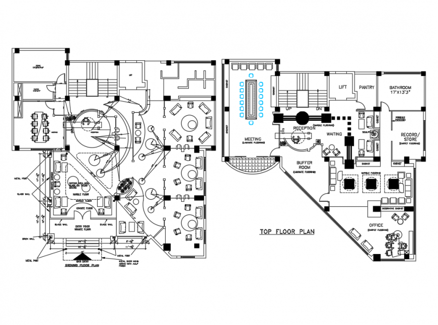 Corporate office ground and first floor plan layout details dwg file