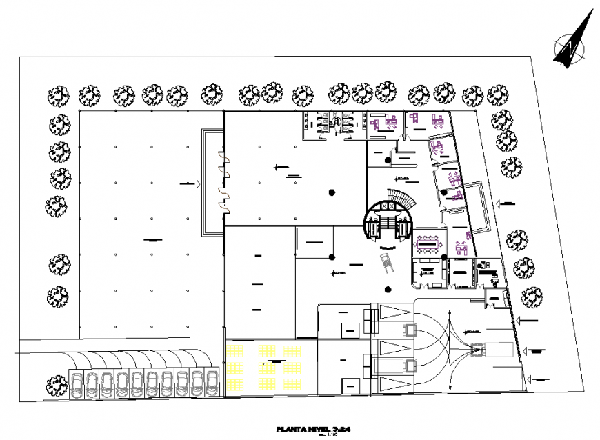 Corporate office plan drawing in dwg file.
