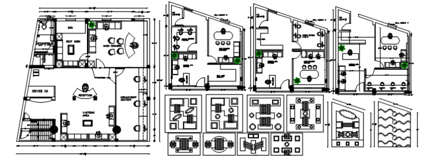 Corporate office top view layout plan details dwg file