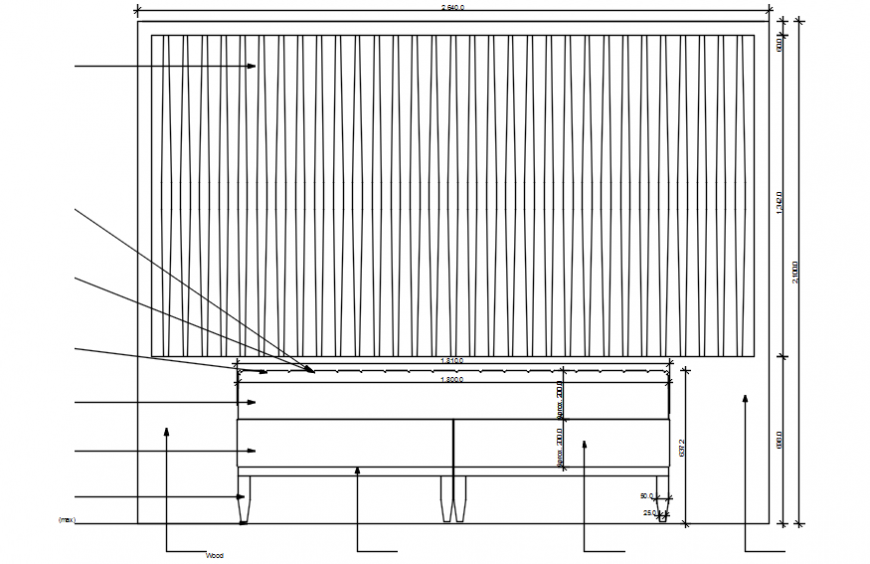 Cot bed elevation in auto cad file