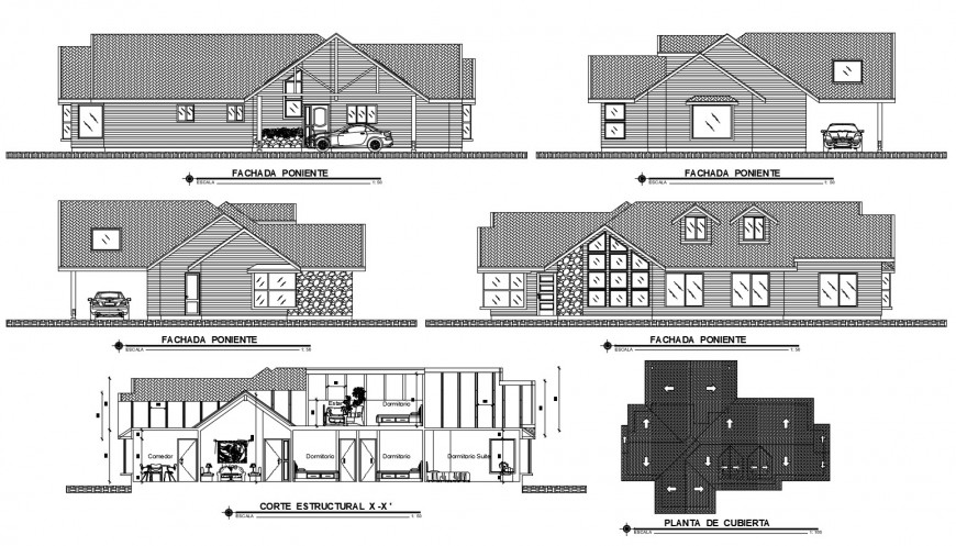 Cottage house all sided elevation, main section and cover plan details dwg file
