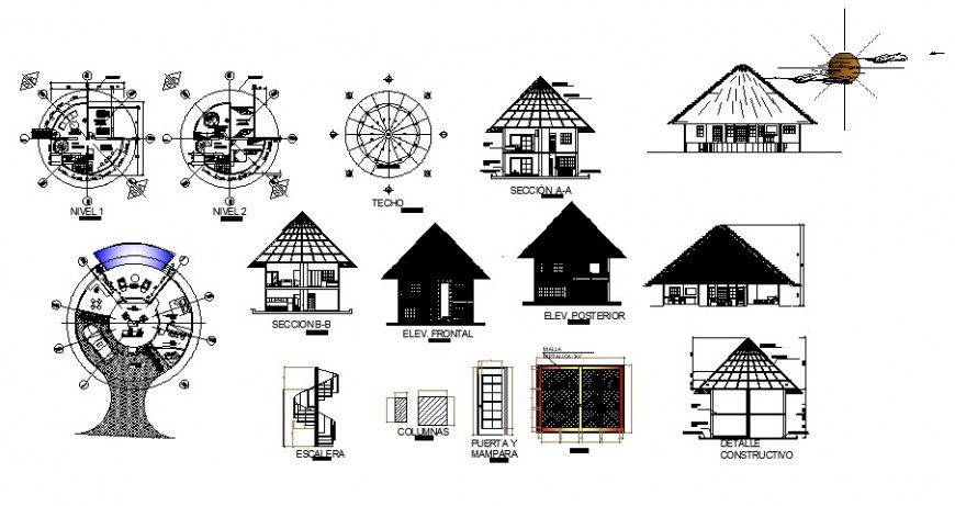 Cottage house detail working drawing in dwg AutoCAD file.