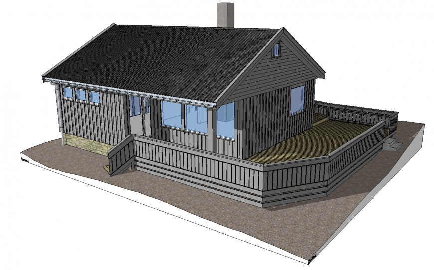 Cottage house exterior 3d model in skp Sketch Up file.