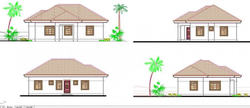 Cottage house exterior elevation drawing in dwg AutoCAD file.