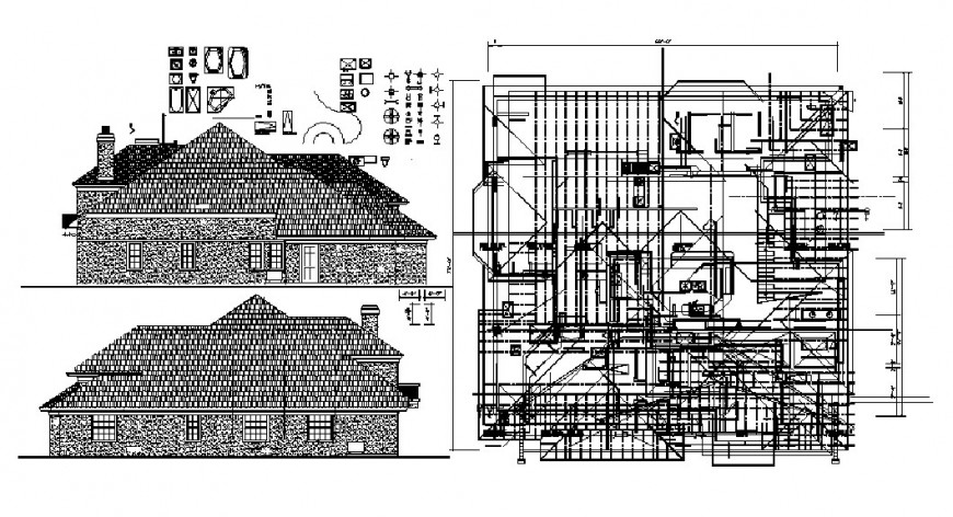 Cottage house main and back elevation and framing plan drawing details dwg file