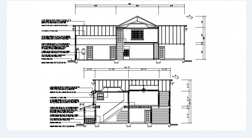 Cottage house main and rear section cad drawing details dwg file