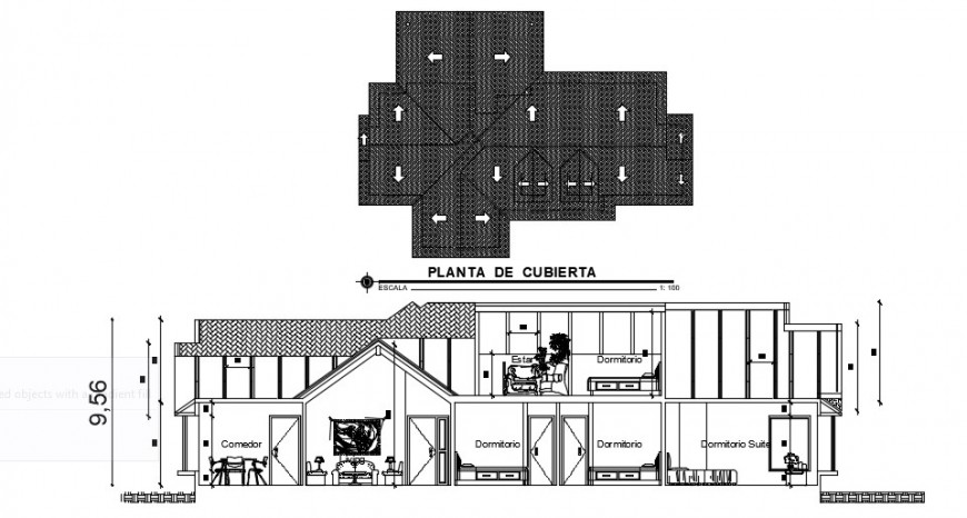 Cottage house main section and cover plan drawing details dwg file