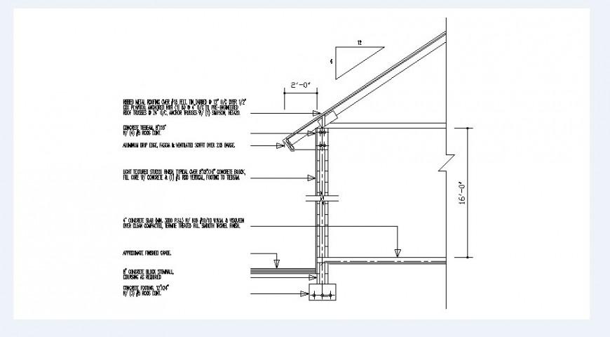 Cottage house side cut constructive section details dwg file