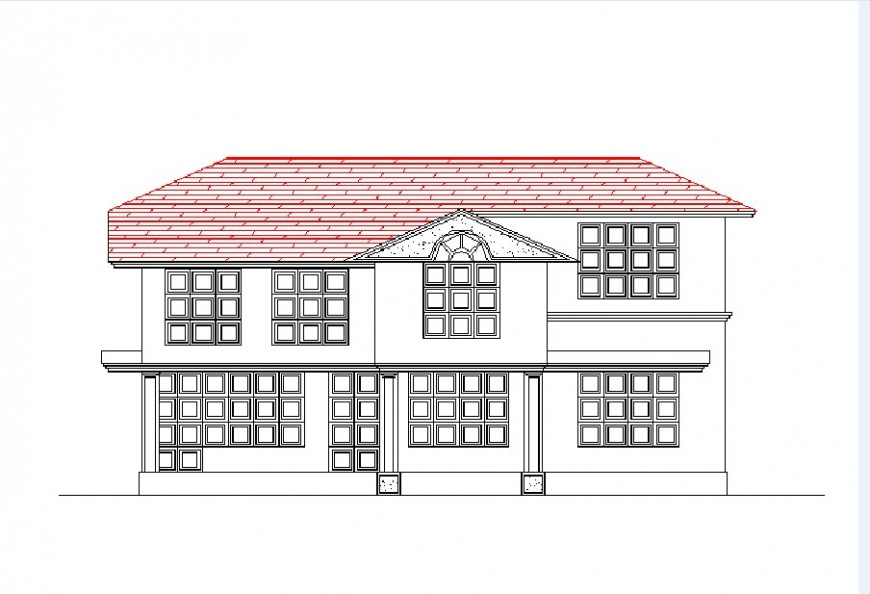 Cottage house two level main elevation drawing details dwg file