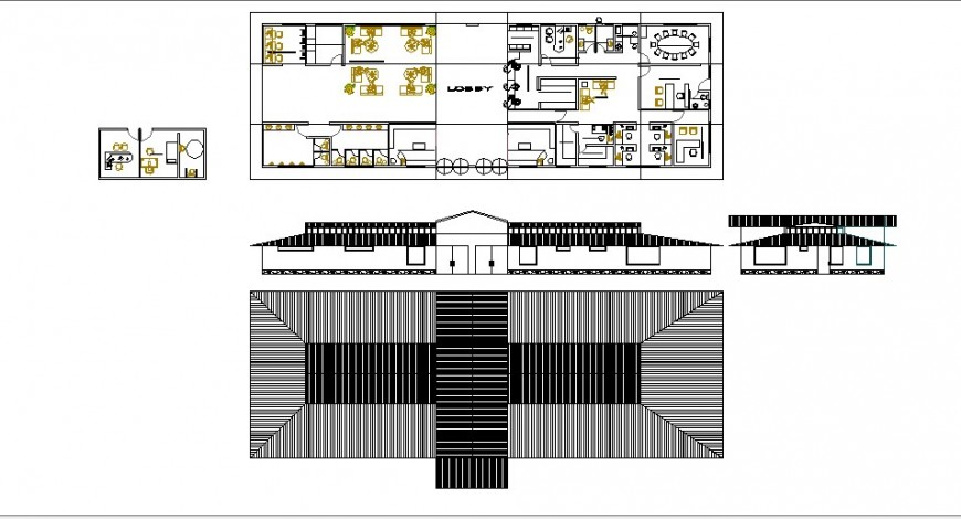 Cottage houses for resort elevation, cover plan and distribution plan details dwg file