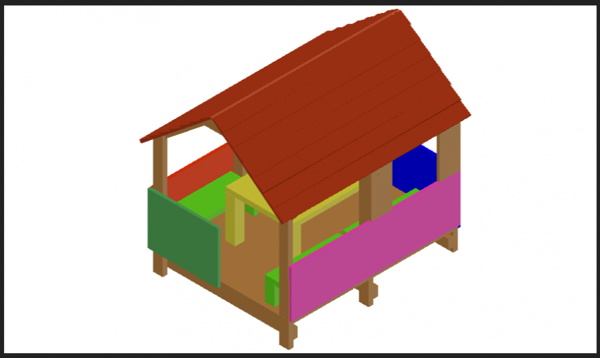 Cottage or small house 3d design dwg file