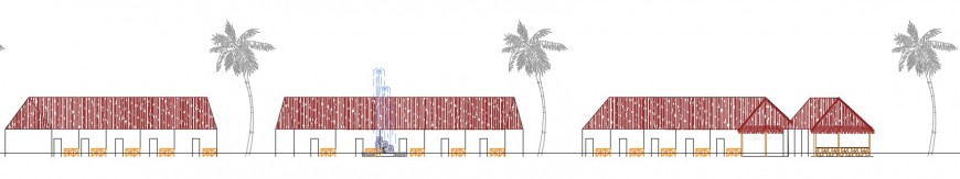 Cottages front sectional view in a resort