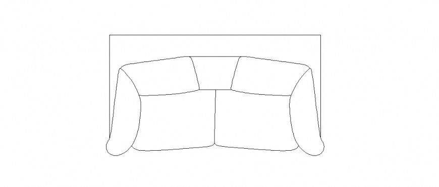 Couch sofa set top view elevation block details dwg file