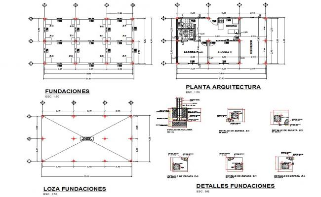 country house design and detail in Dwg files