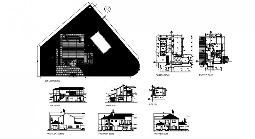 Country house elevation, section, floor plan and cover plan cad drawing details dwg file
