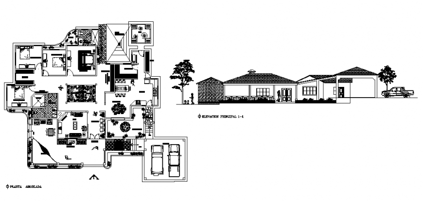 Country side one family house one family house and layout plan details dwg file