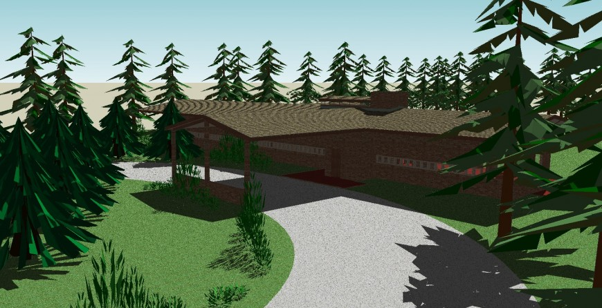 Countryside Oasis 3d drawing in skp file.