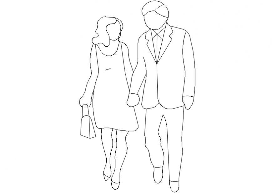 Couple holding hands front elevation block drawing details dwg file