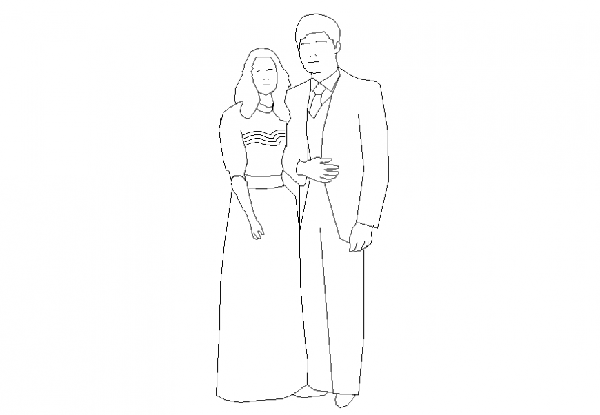 Couple people act blocks cad drawing details dwg file