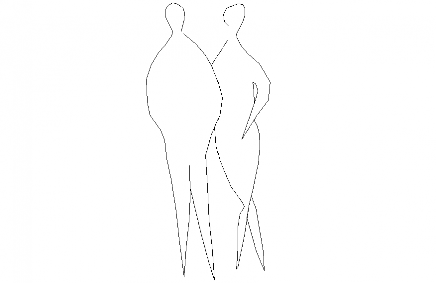 Couple shadow people 2 d cad layout detail dwg file