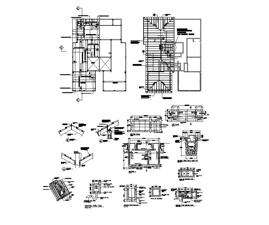 Cover plan and constructive structure details of split family house dwg file