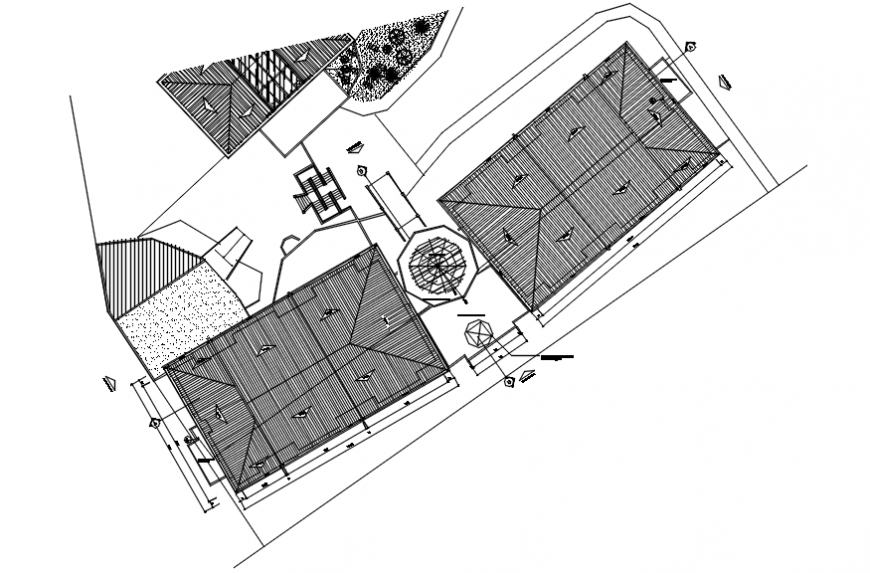 Coverage plan of hotel in AutoCAD file