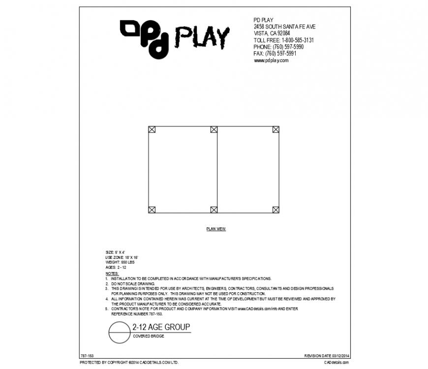 Covered bridge play equipment details for kinder garden dwg file