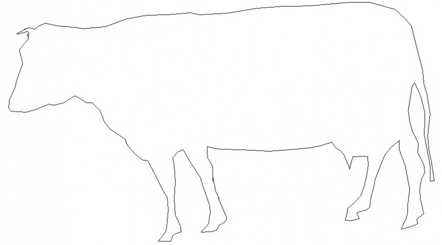 Cow drawings 2d view elevation of cattle animal blocks autocad file