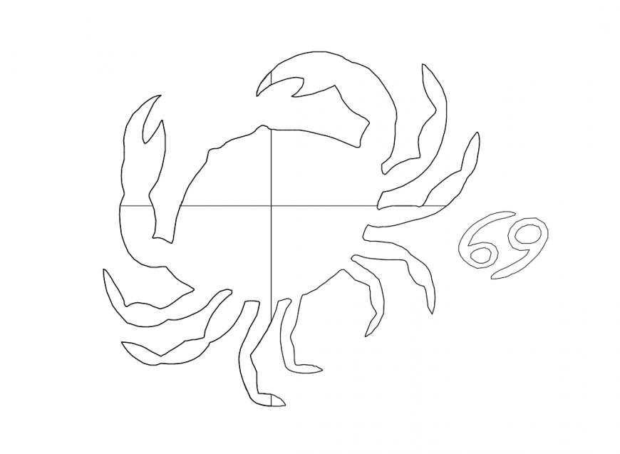 Crab sea animal top view cad blocks design dwg file
