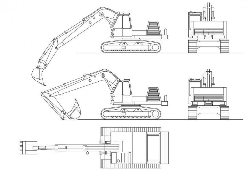 Crawler mounted excavator 2d view elevation dwg file