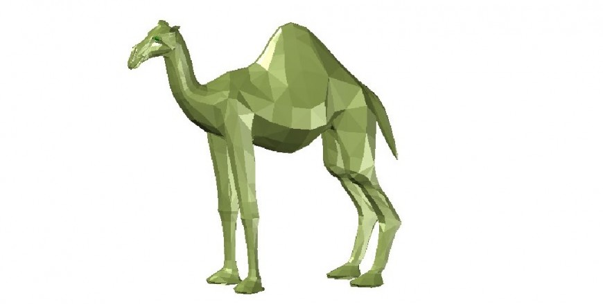 Creative 3d camel model elevation block cad drawing details dwg file