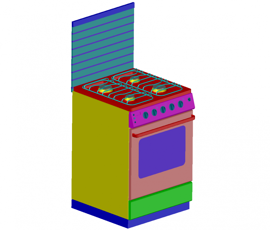 Creative 3d gas stove with cabinet cad drawing details dwg file
