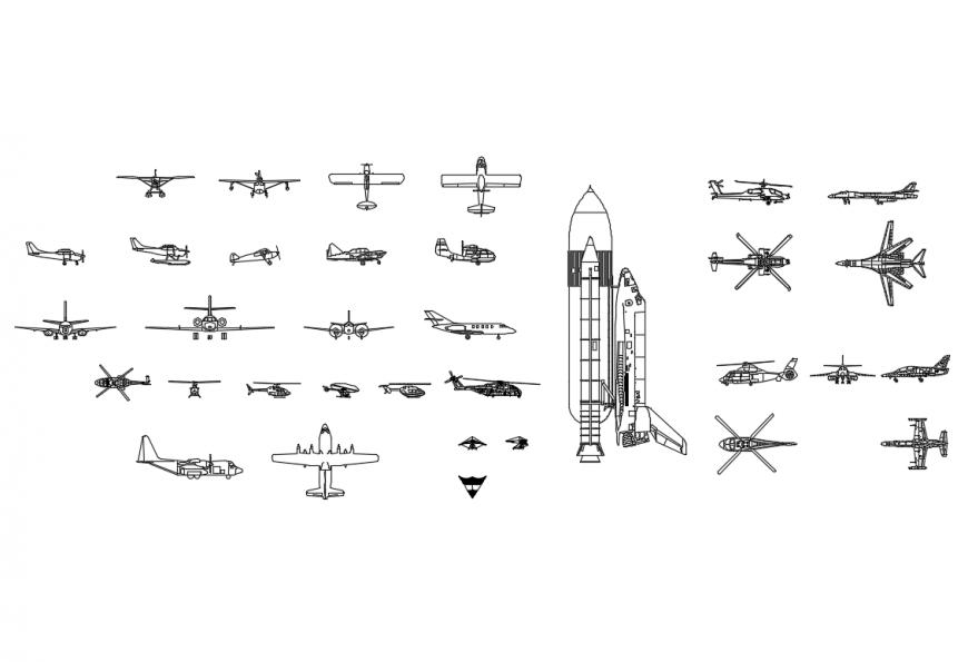 Creative air way vehicles blocks cad drawing details dwg file