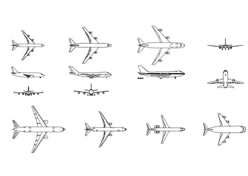 Creative airplane blocks cad drawing details dwg file