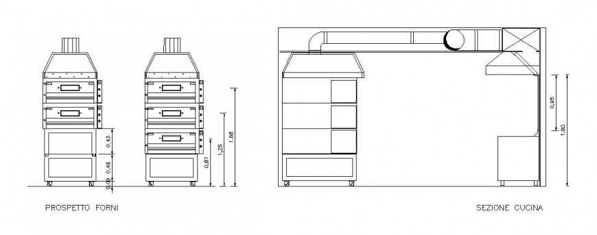 Creative baking oven elevation and section cad drawing details dwg file