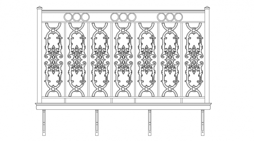 Creative balcony elevation block cad drawing details dwg file