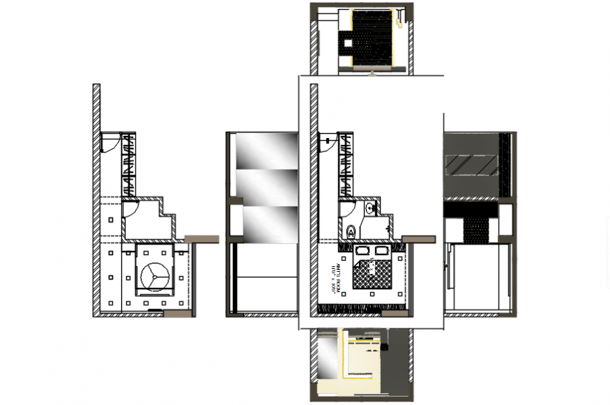 Creative bedroom section, layout plan with furniture cad drawing details dwg file